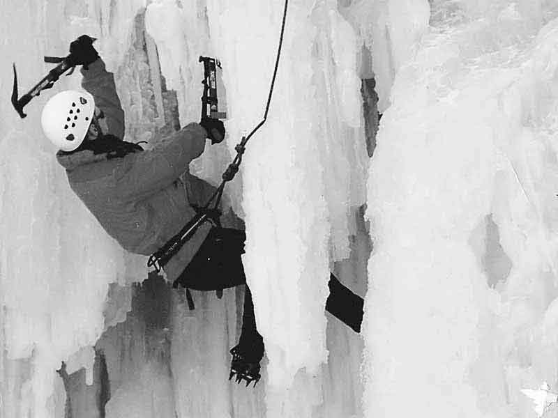 Lance Donnelly ice climbing in Hamilton